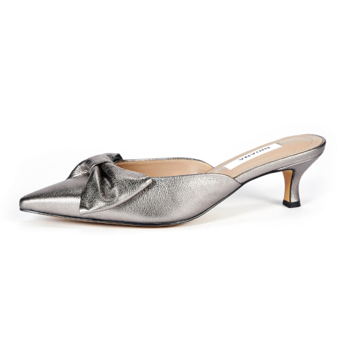브리아나 Briana Ribbon Mule_Metal Gray