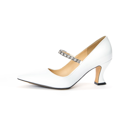 브리아나 Briana Pony Pumps_White Patent