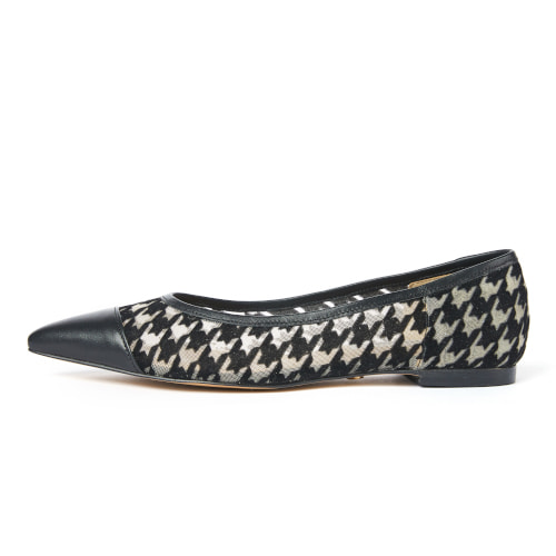 브리아나 Briana Houndstooth Stiletto Flat_Black