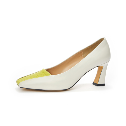 브리아나 Briana combi block pumps_Lime wani-Cream