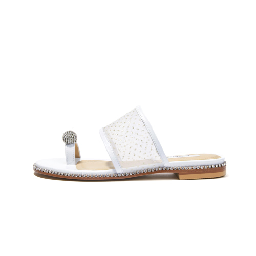 브리아나 Briana Jewel Sandal_White-dotted mesh