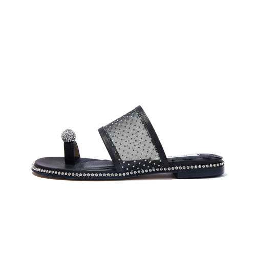 브리아나 Briana Jewel Sandal_ Black-dotted mesh