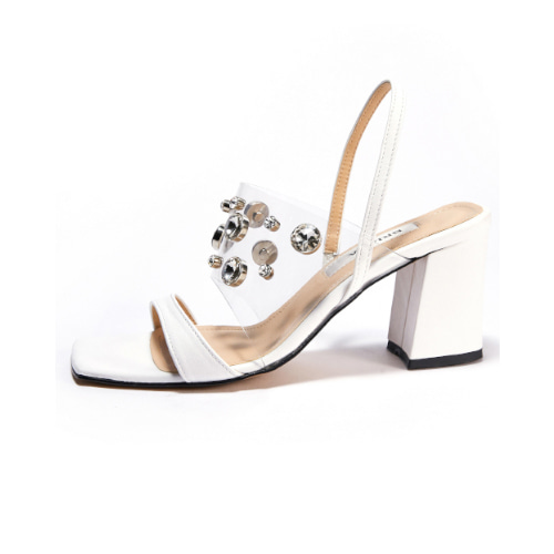 브리아나 Briana Clear Gleam Mule / Slingback_White