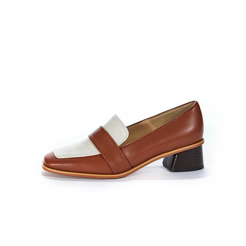 브리아나 Briana Two-Tone Combi Loafer_Cream&Camel